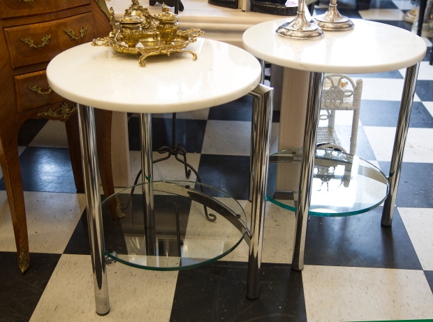 $725 Pair of vintage round chrome side tables with white marble top and heavy glass shelf. Mid-century modern.