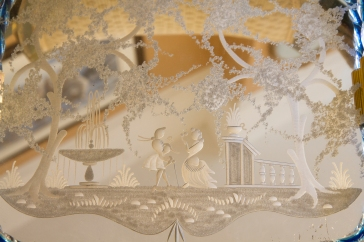 Vintage Etched Glass Mirror with Murano Glass Trim