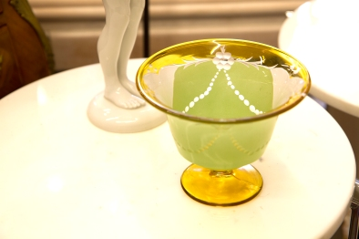 $75 Two colour and frosted glass candy bowl with flower and swag design. Circa 1950s.
