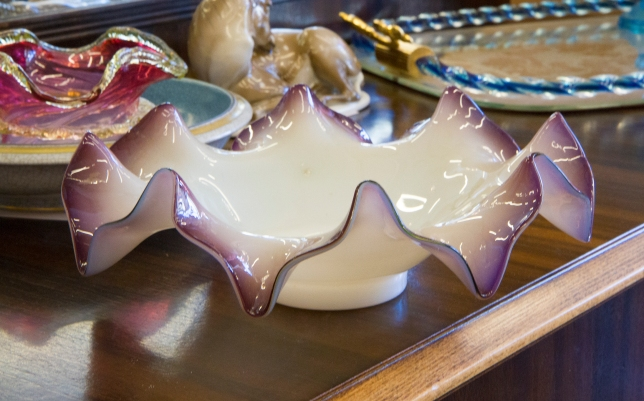 $45 Milky white to amethyst glass flower shaped bowl. U.S.A.