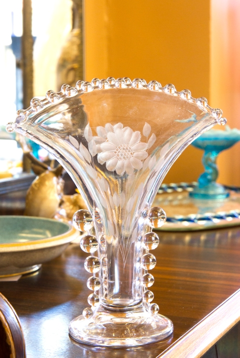 $55 Candlewick fan vase with Cornflower pattern. W.J. Hughes Glass Company. Produced between 1937 and 1963.