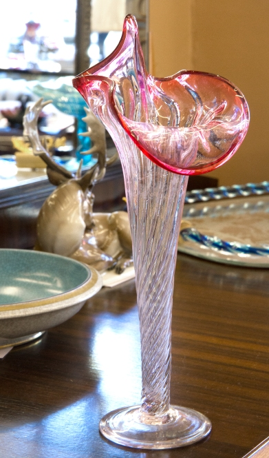 $75 Hand blown clear and cranberry glass Jack-in-the-Pulpit vase. Circa 1870.