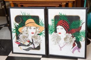 $250 for pair. Pair of original Art Deco portraits of women. Painted on vellum. Circa 1920s/30s.