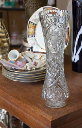$65 Heavy clear cut crystal vase. 15 inches.