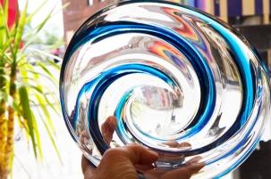 $135. Chalet Canada cobalt blue swirling art glass bowl. Mid-century.