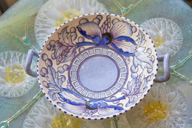 $225. Very rare two handled Bursley Ware bowl by Staffordshire, English designer Charlotte Rhead 1920s/30s. Blue Peonies pattern.