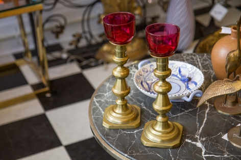 $245. Pair of antique brass and cranberry glass altar vigil candle holders. Circa 1870.