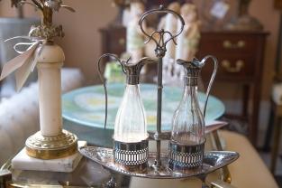 $45. Silver plated oil and vinegar cruet set.