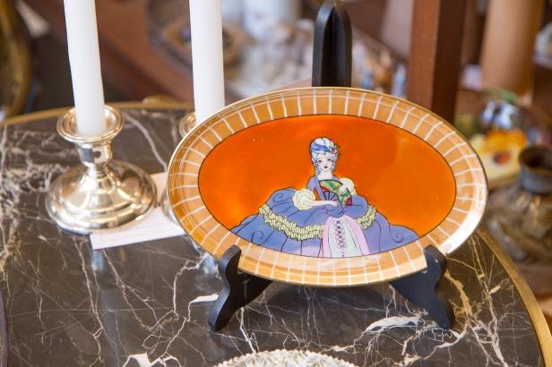 $225. Small vintage orange hand painted lustreware Noritake dresser tray with lady. Japan circa 1920.