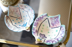 $40 for both. Pair of pottery bowls with whimsical chicken design.