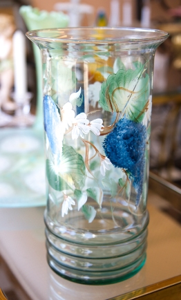 $55 Large hand painted glass vase with trailing blue hydrangeas and daisies.