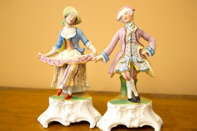 "$195 Pair of colourful antique French bisque ""Dandy"" figurines."