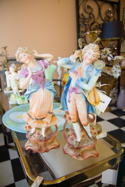 $265 Pair of large German bisque figures of man and woman dancing.