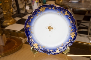 $45 Elite Limoges plate with cobalt blue and gold floral trim. Circa 1920s.