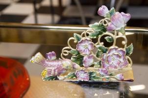 $45 Vintage brass and cloisonnée letter or business card holder. Birds and flowers.