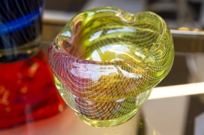$85 Unique Czech art glass bowl with fine threading and green to pink ombre.