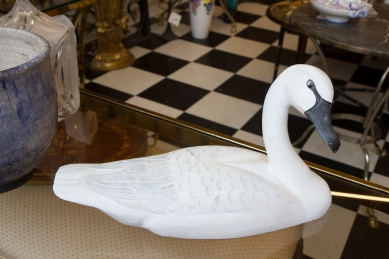 $145 Vintage carved white swan decoy with glass eyes. Canadiana Selection