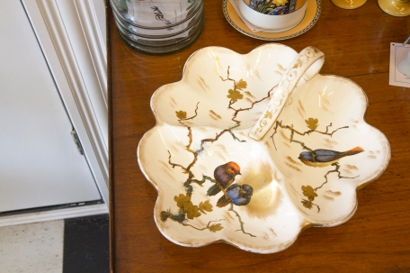 $240 Very rare hand painted porcelain divided serving platter by Franz Anton Mehlem. Royal Bonn Germany. Circa 1890.