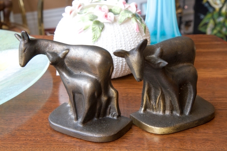 $135 Very rare cast iron Hubley bookends of doe and fawn. USA circa 1890-1930.