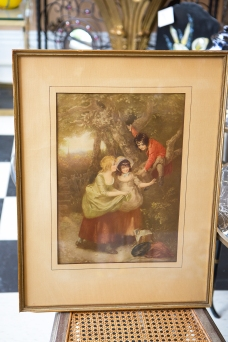 $165. Antique framed Victorian era print of child in a tree showing nest to the girls.