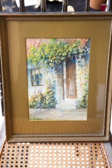 $225. Small antique framed original watercolour of english country house and floral garden. Signed by artist.
